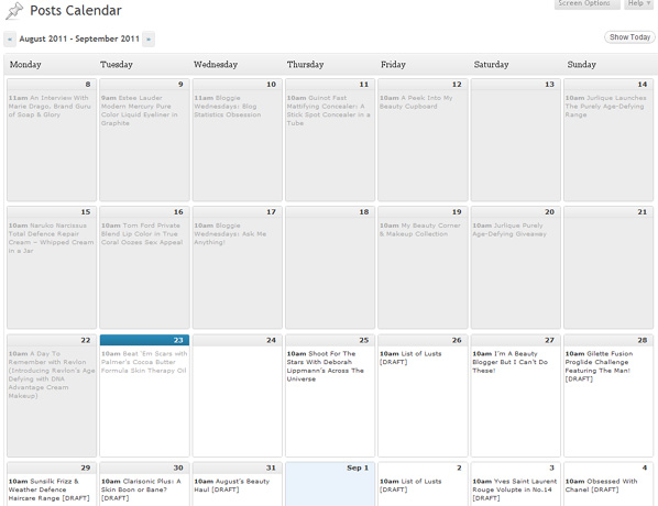 Wordpress Editorial Calendar