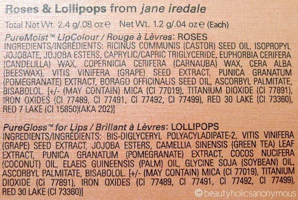 Jane Iredale Roses and Lollipops Ingredients