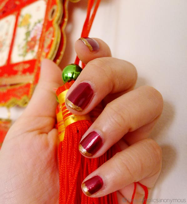Simple Nail Art For Chinese New Year: Celebrating The Chinese New Year With Red And Gold Nails