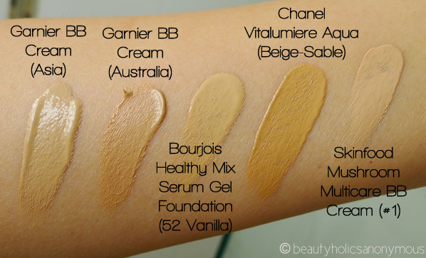 garnier bb cream oil free shades