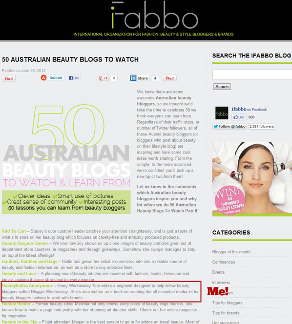Beautyholics Anonymous in iFabbo's 50 Australian Beauty Blogs to Watch