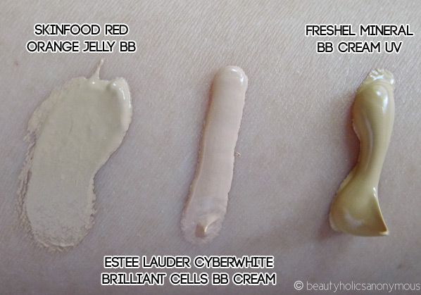 BB Creamology: Skinfood, Estee Lauder & Freshel Swatches