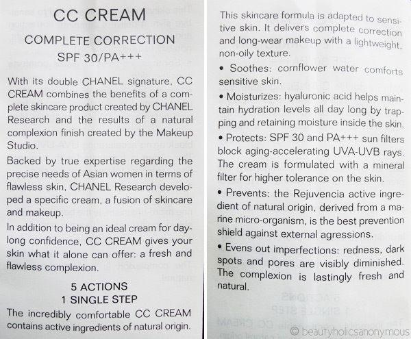 Chanel CC Cream Description