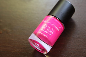 Snazzy Polyester Pink with Face of Australia's Colour Pro Triple Action Nail Enamel