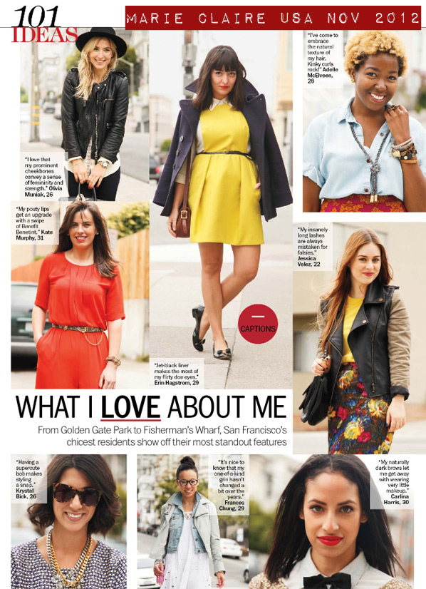 Marie Claire USA Nov 2012 What I Love About Me