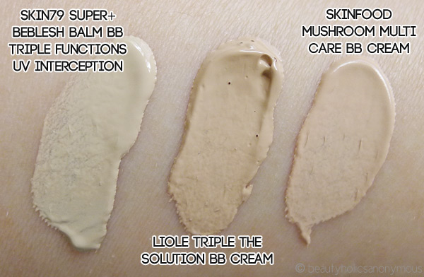 BB Creamology: Skin79, Liole and Skinfood Swatches