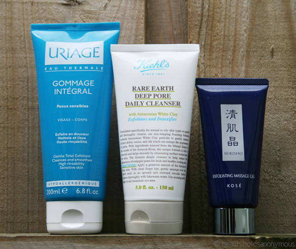 Uriage Gommage Integral Gentle Total Exfoliant, Kiehl's Rare Earth Deep Pore Daily Cleanser and Kose Seikisho Exfoliating Massage Gel