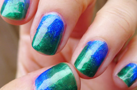 Nail-spiration: Blue-Green Dichroic Glass