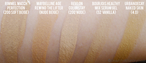 Maybelline Instant Age Rewind The Lifter Foundation Swatch Comparison
