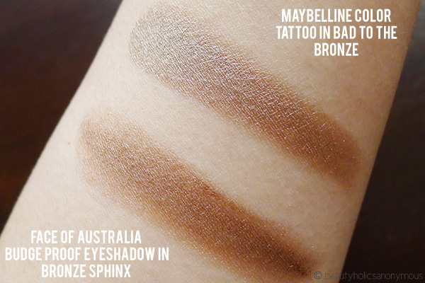 Face of Australia Budgeproof Eyeshadow in Bronze Sphinx and Maybelline Color Tattoo in Bad to the Bronze
