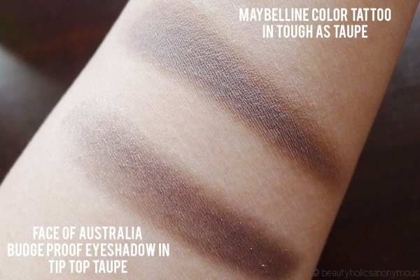 Face of Australia Budgeproof Eyeshadow in Tip Top Taupe and Maybelline Color Tattoo in Tough as Taupe
