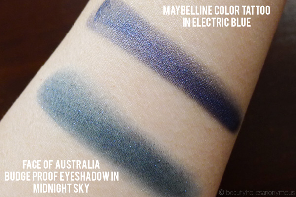 Face of Australia Budgeproof Eyeshadow in Midnight Sky and Maybelline Color Tattoo in Electric Blue