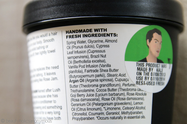 LUSH Ro's Argan Body Conditioner Ingredients