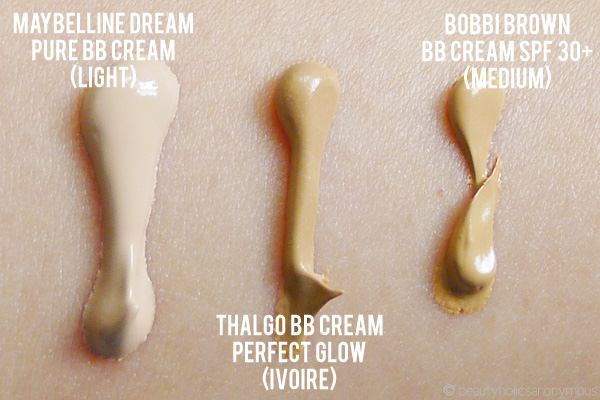 Maybelline Dream Pure BB Cream, Thalgo BB Cream Perfect Glow and Bobbi Brown BB Cream Swatches
