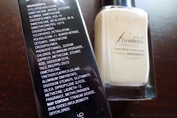 AVON Ideal Flawless Invisible Coverage Foundation Ingredients
