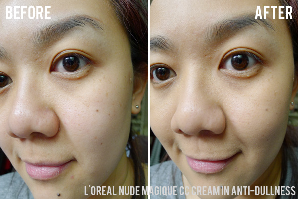 L'Oreal Nude Magique CC Creams in Anti-Dullness Before and After