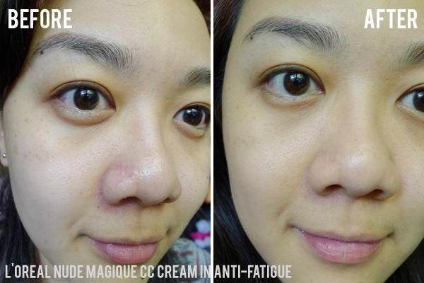 L'Oreal Nude Magique CC Creams in Anti-Fatigue Before and After