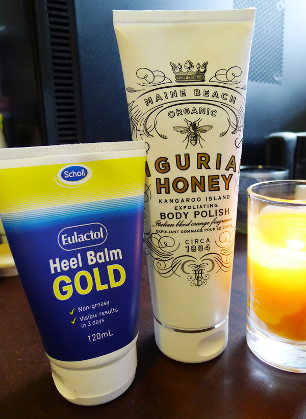 Lingurian Honey Kangaroo Island Exfoliating Body Polish by Maine Beach Organic and Scholl Eulactol Heel Balm Gold