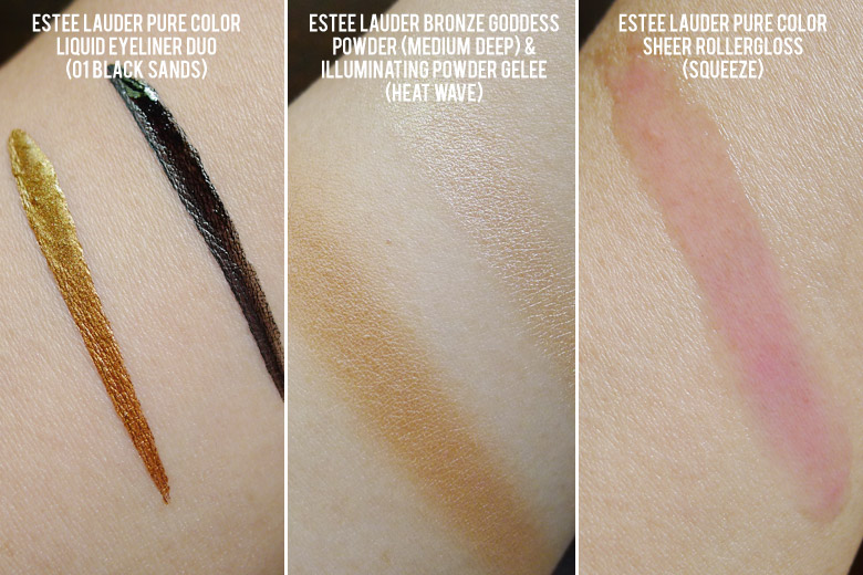 Estee Lauder Pure Color Liquid Eyeliner Duo in Black Sands, Bronzer in Medium Deep and RollerGloss in Squeeze Swatches