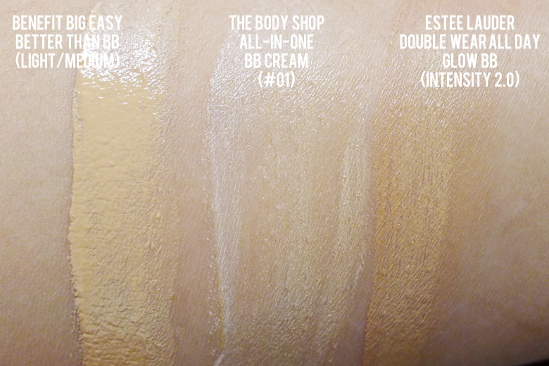 BB Creamology: Estée Lauder, The Body Shop and Benefit Swatches