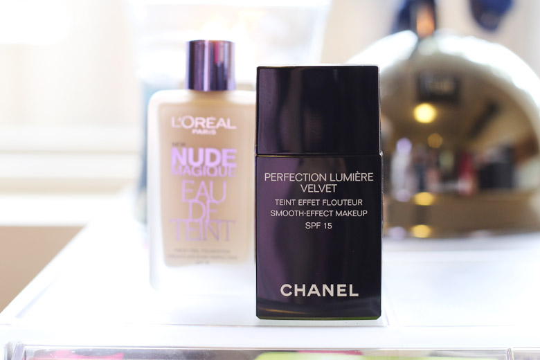 Chanel Perfection Lumiere Velvet Smooth-Effect Makeup and L'Oreal Nude Magique Eau de Teint