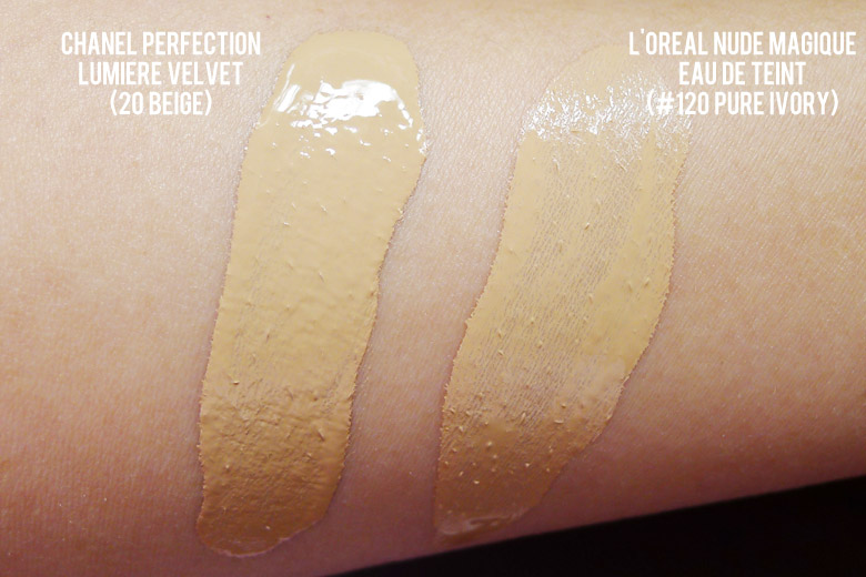 Chanel Perfection Lumiere Velvet Smooth-Effect Makeup and L'Oreal Nude Magique Eau de Teint Swatch Comparison