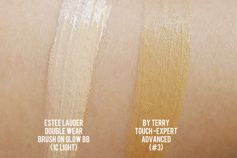 Estee Lauder's Double Wear Brush-On Glow BB Highlighter and By Terry Touch Expert Advanced Ultra-Radiance Active Concealer Swatches