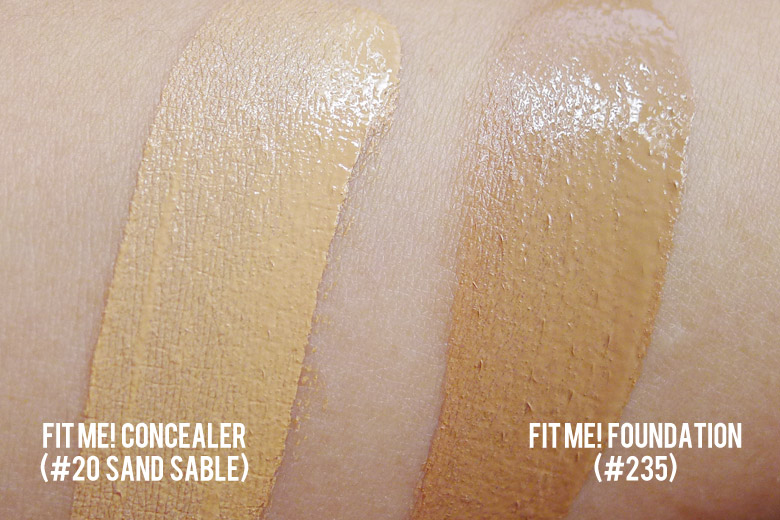 Maybelline Fit Me Concealer and Foundation Swatches