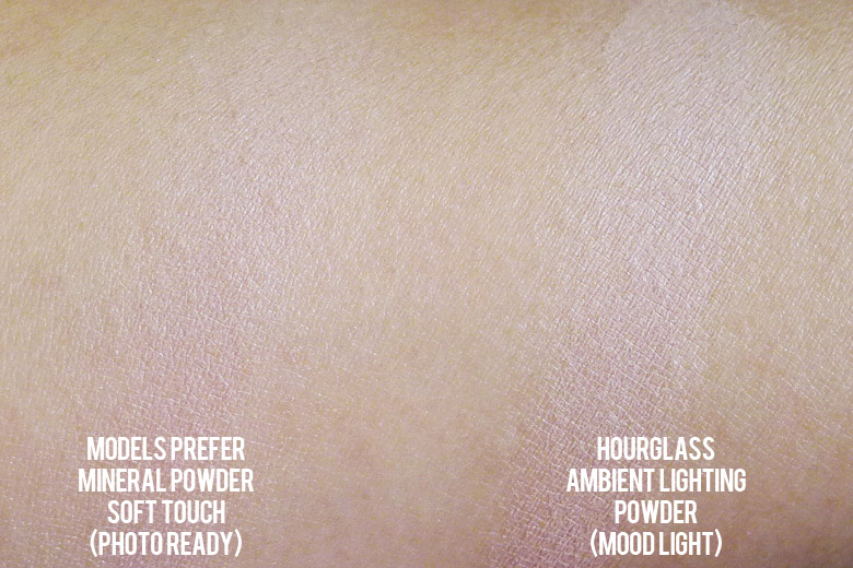 Models Prefer Mineral Powder Soft Touch Powder in Photo Ready and Hourglass Ambient Lighting Powder in Mood Light Swatch Comparison