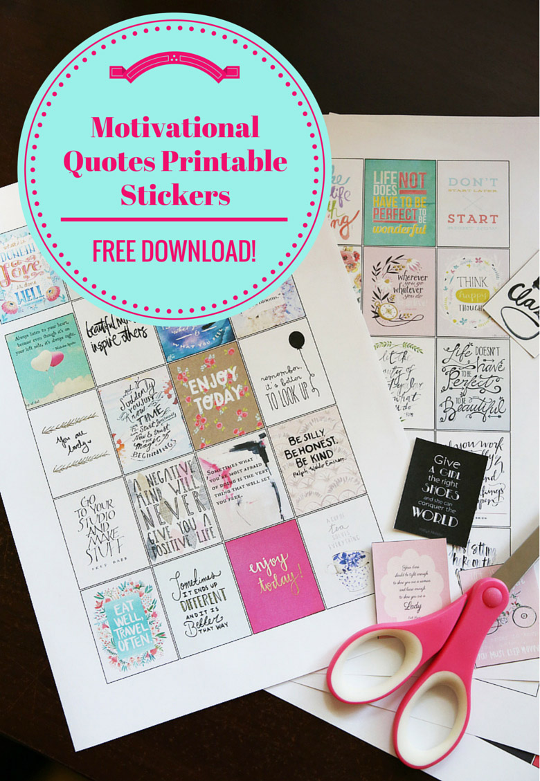 FREE Motivational Quotes Printable Stickers for Erin Condren Life Planners and other planners