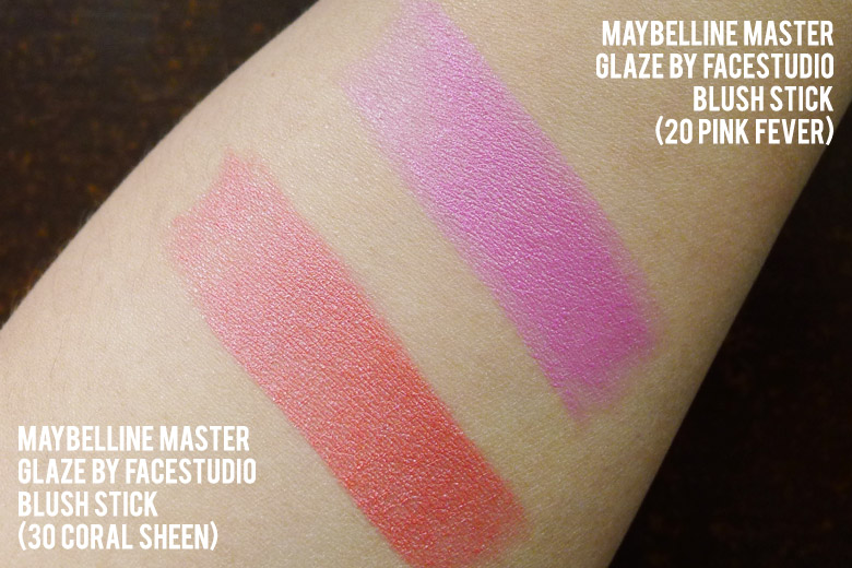 Maybelline Master Glaze by FaceStudio Blush Sticks in Pink Fever and Coral Sheen Swatch