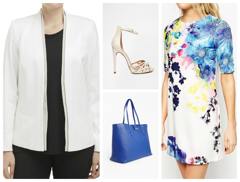 Styling the white blazer: white jacket with dress
