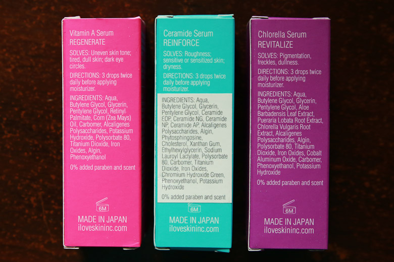 Skin Inc Vitamin A, Ceramide and Chlorella Serum Ingredients