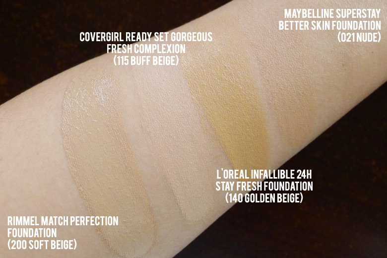 Covergirl Ready Set Gorgeous Foundation Swatch Comparison