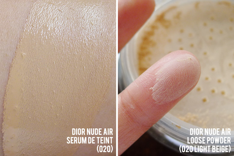 Dior Nude Air Serum de Teint and Healthy Invisible Glow Loose Powder Swatches