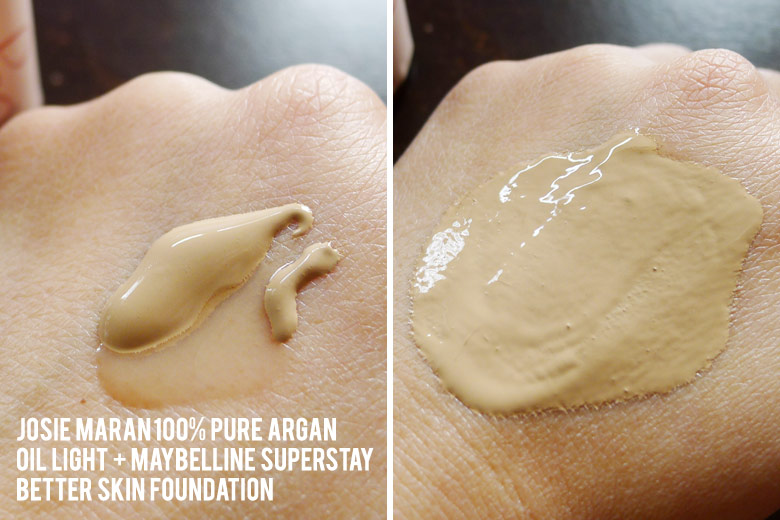 Mixing Maybelline Superstay Better Skin Foundation With Josie Maran's Pure Argan Oil Light