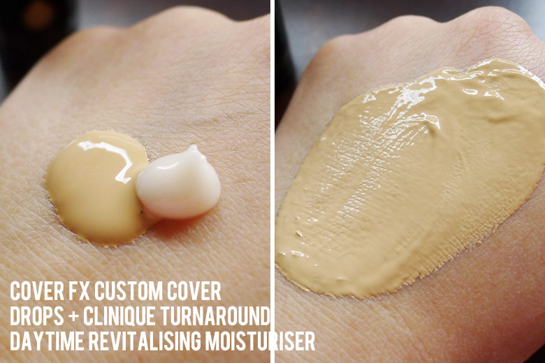 Cover FX Custom Cover Drops in G30 Mixed With Clinique Turnaround Daytime Revitalising Moisturiser   Beautyholics Anonymous