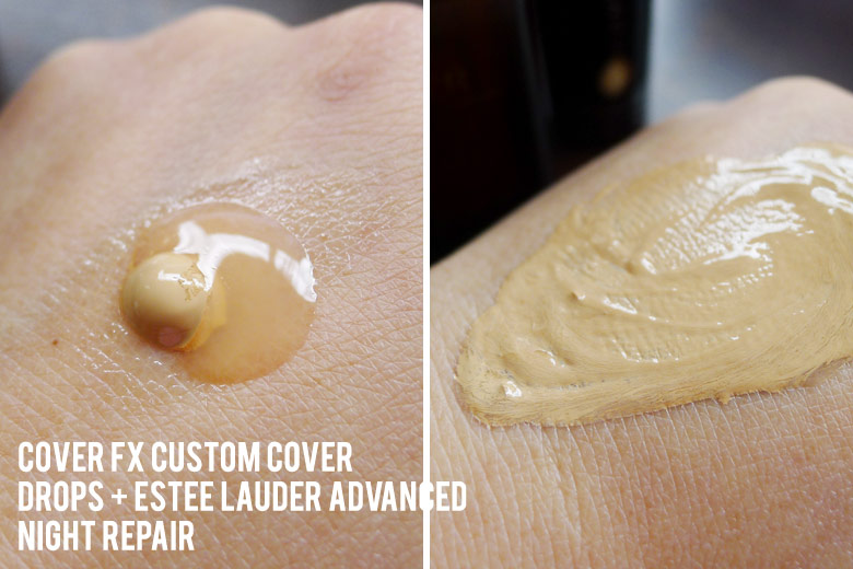Cover FX Custom Cover Drops in G30 Mixed With Este Lauder Advanced Night Repair   Beautyholics Anonymous