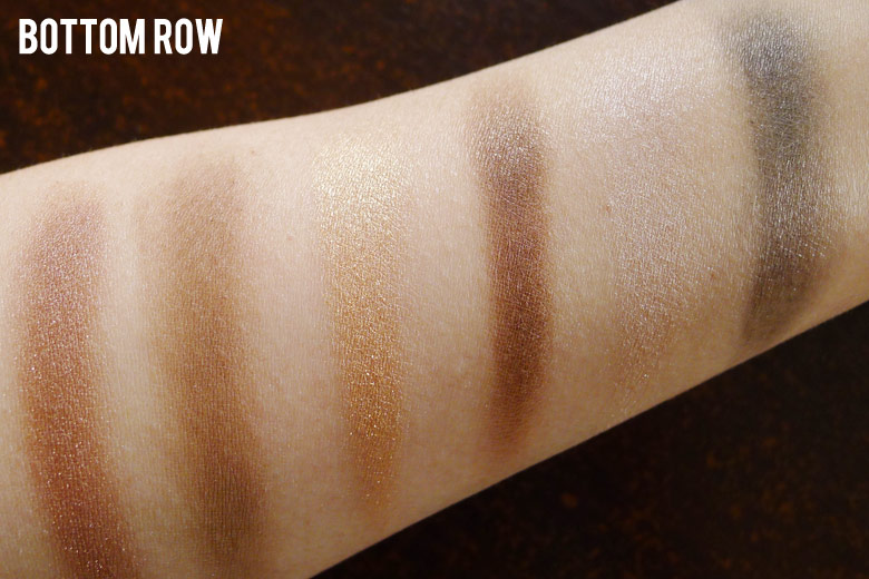 Maybelline The Nudes Eyeshadow Palette Bottom Row Swatches