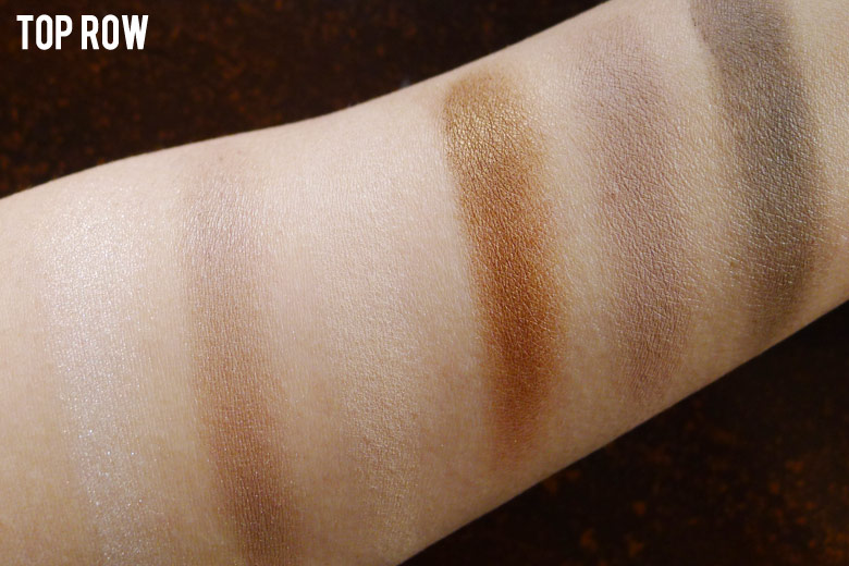 Maybelline The Nudes Eyeshadow Palette Top Row Swatches