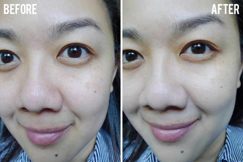 CROP Natural Liquid Foundation in Natural Beige Before and After