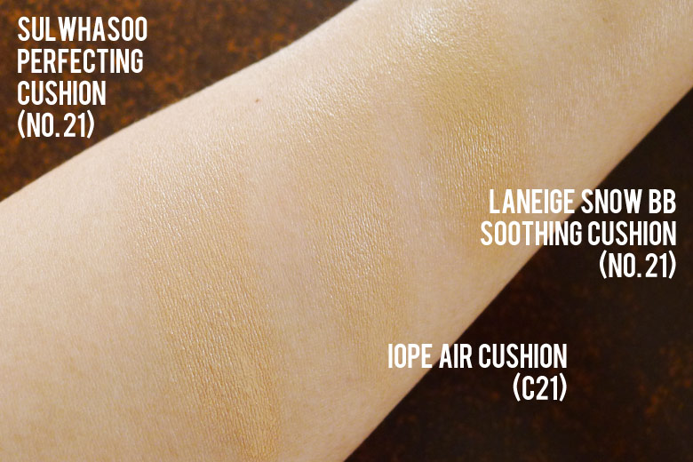 Sulwhasoo Perfecting Cushion Swatches
